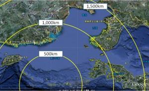 沖繩から見た台湾・平壌の位置