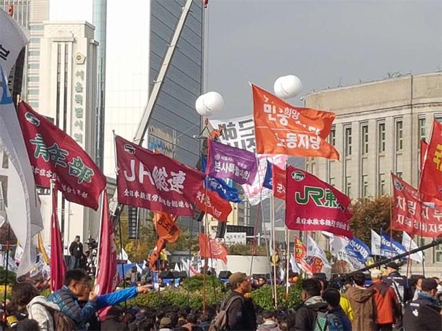 朴クネ退陣要求集会にJR総連